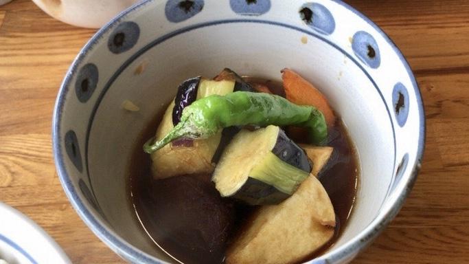 とんとん亭の揚げ野菜の黒酢あんかけ