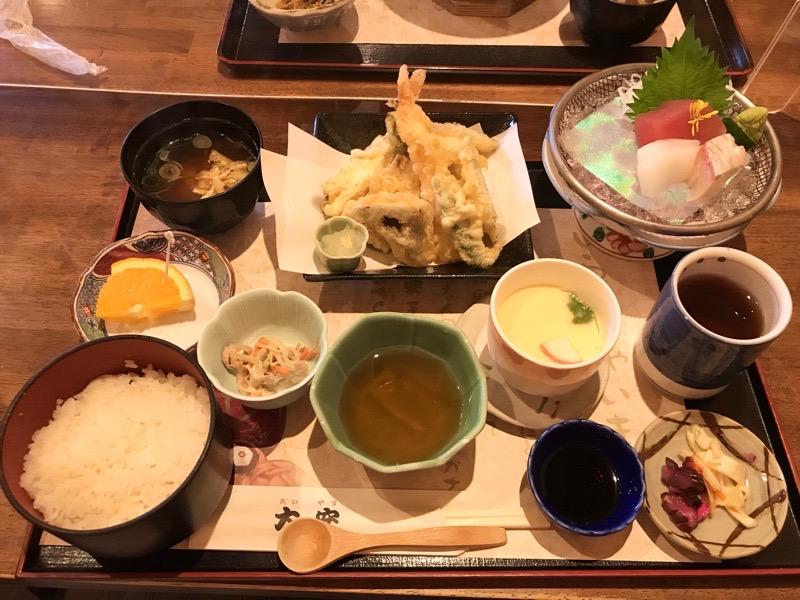 犬山 レストラン大安15 ランチ 天ぷら 刺身